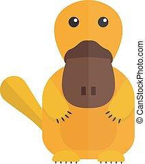 Cute cartoon platypus australia wildlife mammal animal flat vector illustration.