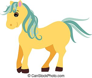 Cute cartoon pony, little horse isolated on white background, vector illustration