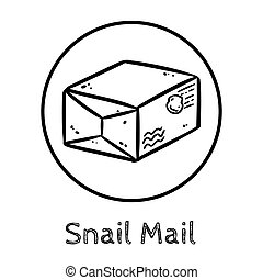 Cute cartoon post package doodle image. Snail mail logo. Media highlights graphic symbol