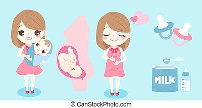 cartoon pregnant woman