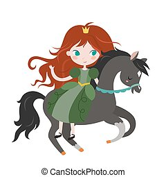 Cute cartoon princess on black horse.