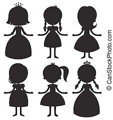Cute cartoon princess silhouettes set.