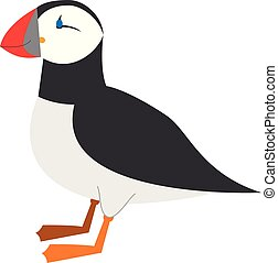 Cute cartoon puffin vector illustration