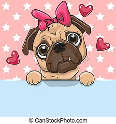 Greeting card cute Cartoon Pug Dog Girl is holding a placard on a stars background