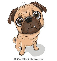 Cartoon Pug Dog isolated on a white background