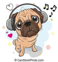 Cute cartoon Pug Dog with headphones