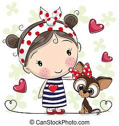 Cute Cartoon Puppy and a Girl in a striped dress