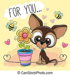 Cute cartoon Puppy with flower on orange background