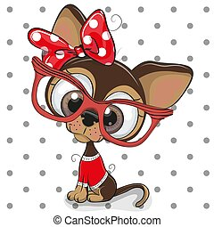 Cute Cartoon Puppy with red glasses