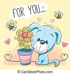 Cute cartoon Puppyl with flower