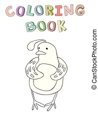 Cute cartoon quail character, contour vector illustration for coloring book in simple style.