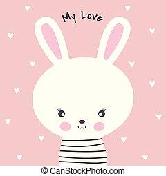 Cute cartoon rabbit and inscription my love.