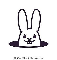 Cute cartoon rabbit in hole