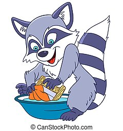cute cartoon raccoon - cute funny and lovely hard-working...