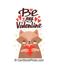 Cute cartoon raccoon holding heart