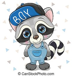 Cute Cartoon Raccoon in cap on a white background