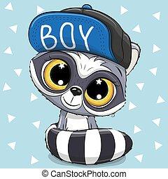 Cute Cartoon Raccoon on a white background