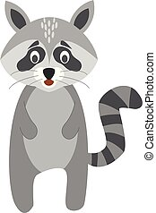 Cute cartoon raccoon vector illustration