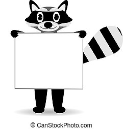 Cute cartoon raccoon with blank sign.