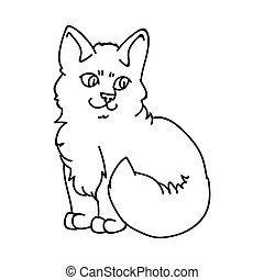 Cute cartoon ragdoll kitten monochrome lineart vector clipart. Pedigree kitty breed for cat lovers. Purebred domestic cat for pet parlor illustration mascot. Isolated feline housecat.