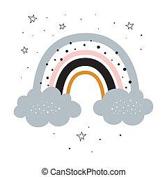 cute cartoon rainbow for baby print, vector illustration
