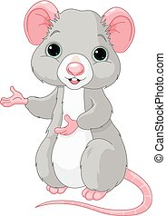 Cute Cartoon Rat - Cute cartoon rat is pointing