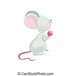 Cute cartoon rat holding a berry. Vector illustration on white background.