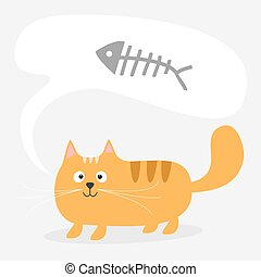Cute cartoon red cat and talk think bubble with fish bone skeleton. Card. Kids background Flat design