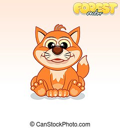 Cute Cartoon Red Fox. Funny Vector Animal
