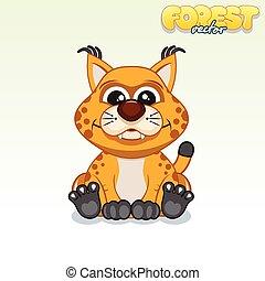 Cute Cartoon Red Lynx. Funny Vector Animal Series