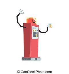 Cute cartoon red robot soda vending machine character vector Illustration