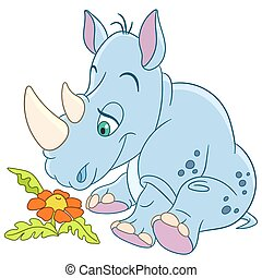 cute cartoon rhino and daisy flower - cute happy and dreamy...