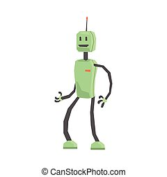 Cute cartoon robot android character vector Illustration