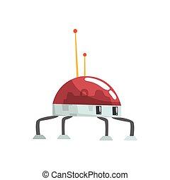Cute cartoon robot spider character vector Illustration