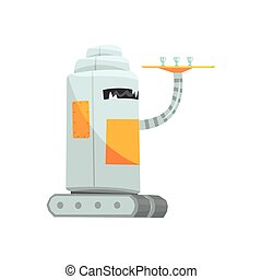Cute cartoon robot waiter character with tray vector Illustration