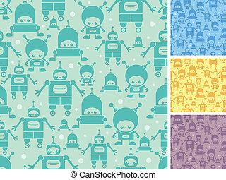 Cute cartoon robots seamless pattern background - Vector...