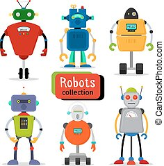Cute cartoon robots set