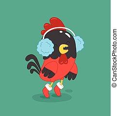 Cute cartoon rooster vector illustration clipart