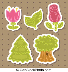 Cute cartoon rose, tulip, tree, oak set.