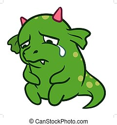 Cute cartoon sad crying monster dragon - Vector hand drawn...