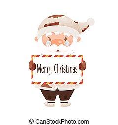 Cute cartoon Santa Claus character handing a board with Merry Christmas