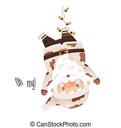 Cute cartoon Santa Claus character upside down tangled in a garland