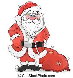 Cute Cartoon Santa Claus on a white background
