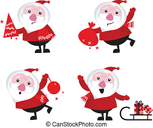 Cute cartoon Santa Claus set isolated on white Cute cartoon Sant