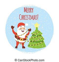 Cute cartoon Santa with Christmas tree and snowfall. Cartoon Christmas card vector template