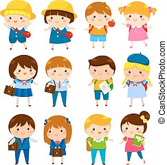 cute cartoon school kids - school kids of different ages...