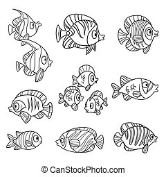 Cute cartoon sea fishes outlined isolated on a white background