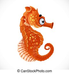 Cute cartoon sea ??horse isolated on a white background