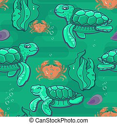 Cute cartoon sea Turtle. Vector seamless pattern.
