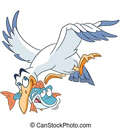cute cartoon seagull with a fish - cute and happy cartoon...